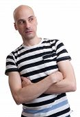 stock photo of unawares  - portrait of unhappy young man isolated over white - JPG