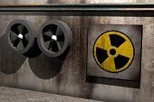 stock photo of polution  - symbol of nuclear danger on a dirty room - JPG