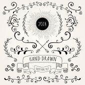 image of scroll design  - Hand drawn set vintage style vector design elements - JPG