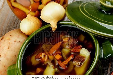 Soup With Chanterelle Mushrooms