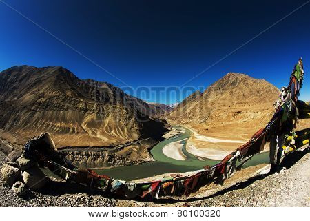 Sangam Indus and Zanskar Rivers meeting in Leh Ladakh