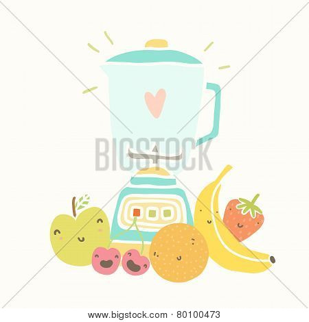 Blender and funny fruits for smoothie.