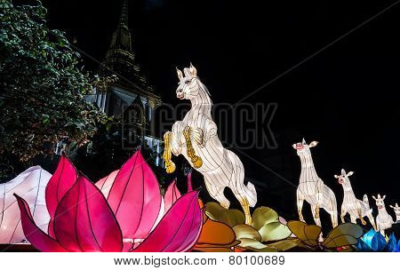 Horse Lantern Model Display In Bangkok