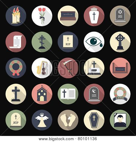Funeral icons in flat style on colored circles