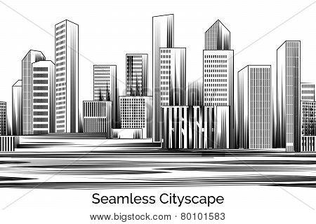 Seamless Cityscape Engraving