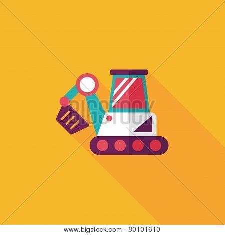 Transportation Excavator Flat Icon With Long Shadow