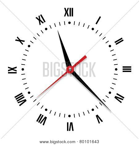 Vector clock on white background