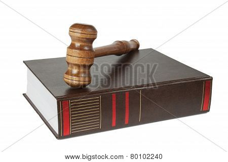 Wood Gavel And Soundblock On On A Thick Book