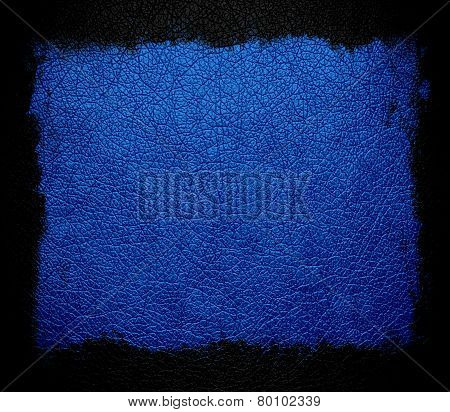 blue leather background or texture with black frame