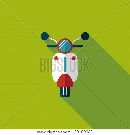 Transportation Scooter Flat Icon With Long Shadow
