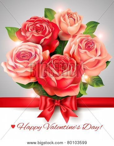 Valentine card with rose bouquet and bow. Vector eps 10.