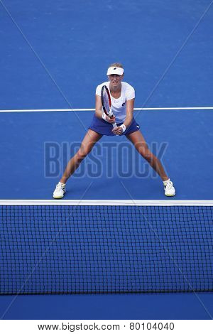 Grand Slam champion Ekaterina Makarova during quarterfinal doubles match at US Open 2014