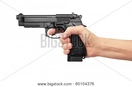 Semi-automatic gun in hand, isolated on white background