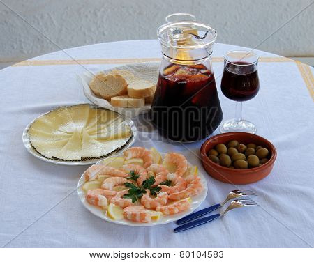 Spanish tapas and Sangria.