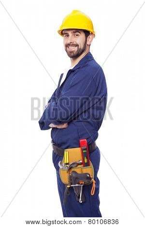 Portrait of a handsome smiling contractor, isolated on white background