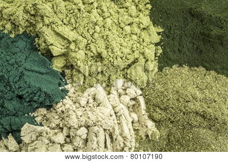 background of five healthy green dietary supplement powders (spirulina, chlorella, wheatgrass, kelp and moringa leaf)