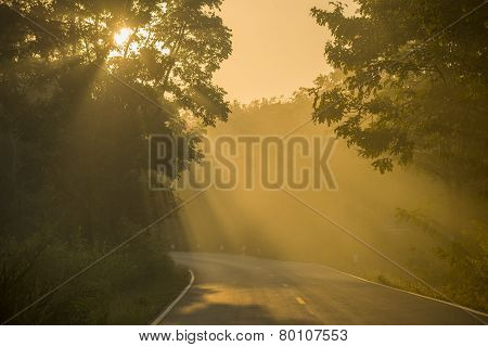 Backlight and sun flare long road in Thailand
