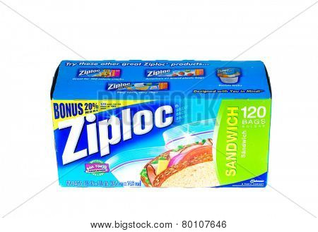 Hayward, CA - January 11, 2015: Packet of 120 Ziploc brand Sandwich bags by Johnson