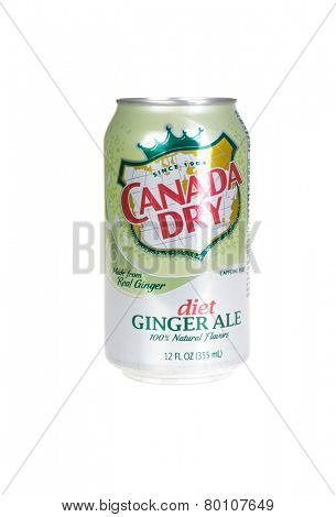 Hayward, CA - January 11, 2015: Can of Canada Dry Diet Ginger Ale