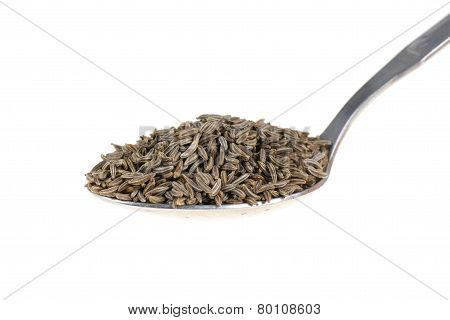 Cumin On A Spoon Isolated On White Background