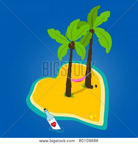 Heart shaped deserted island