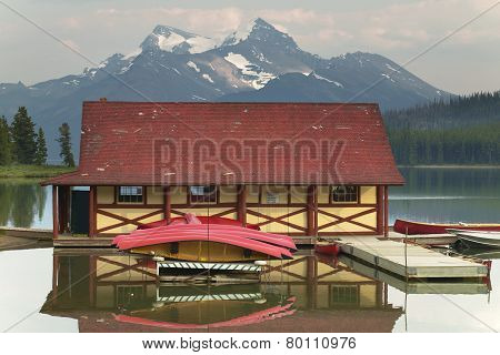 Canadian Landscape With Maligne Lake And Canoes. Jasper. Alberta