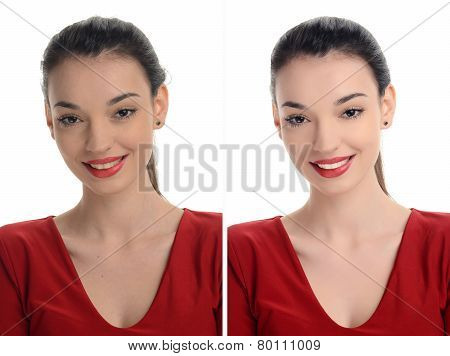 Portrait of a beautiful young woman with sexy red lips smiling before and after retouching.