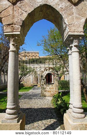Italy. Sicily Island. Palermo City. The Monastery Courtyard Of San Giovanni Degli Eremiti Church