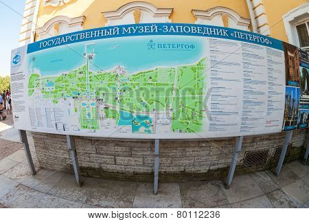 Plan Of The Peterhof Complex - Famous Palace, Gardens With Fountains - Popular Tourist Attraction
