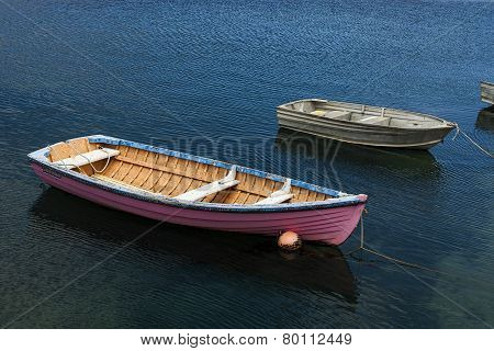 Pink Boat In Sea