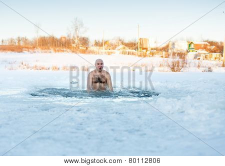 Winter-swimmer  ice-hole at lake