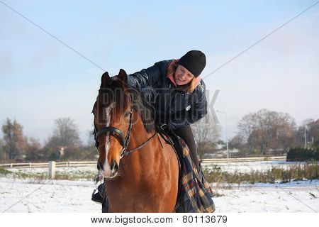 Teenager Girl Riding Bay Horse Portrait