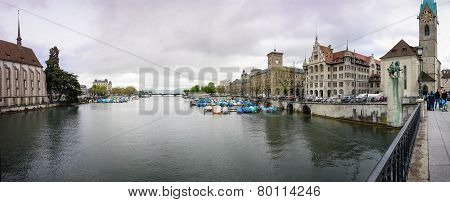 Zurich, Switzerland - April 19, 2014: Panoramic View Of River Limmat And Fraumunster Church At City