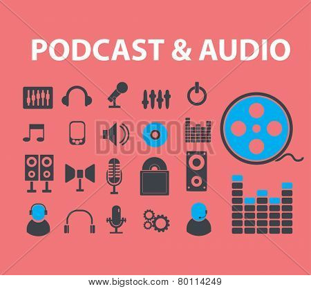 podcast, audio, music icons, signs, symbols, illustrations set on background, vector
