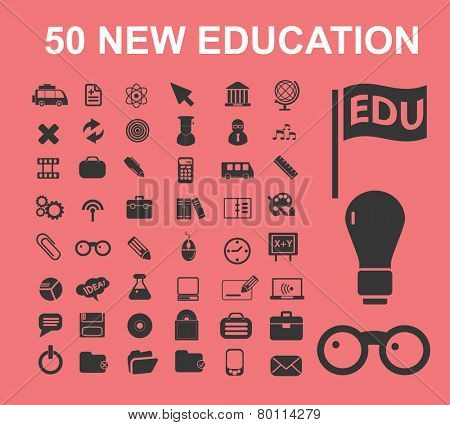 50 education, science, learning icons, signs, symbols, illustrations set on background, vector
