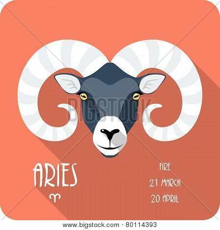 Zodiac sign Aries icon flat design