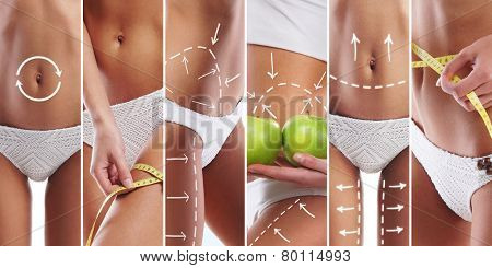 Fit female body isolated on white. Diet, sport and healthy eating collage