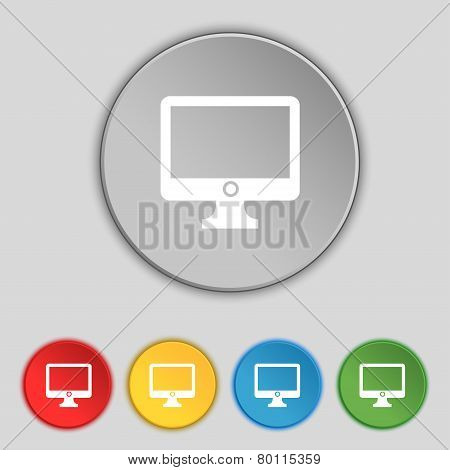 Computer Widescreen Monitor Sign Icon. Set Colur Buttons. Vector