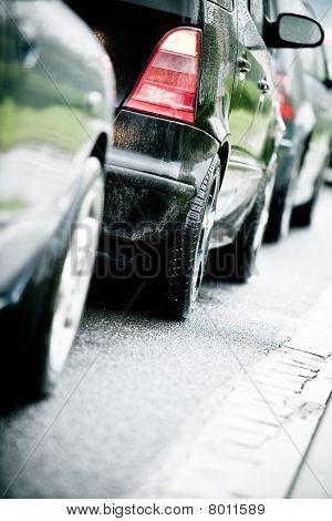 Traffic Jam In Flooded Highway Cause Rain