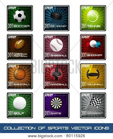 Collection of icons of very popular sports