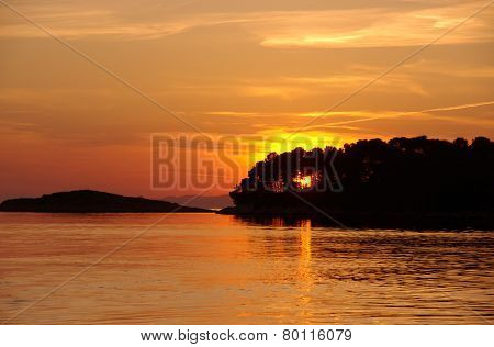 Sunset in Pomena on Mljet