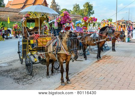 Lampang, Thailand - December 27, 2014: Horse Carriage At Wat Phra That Lampang Luang In Lampang, Tha