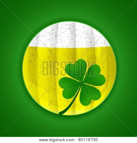 Beer and four-leaf clover. St. Patrick's day symbols. Vector illustration