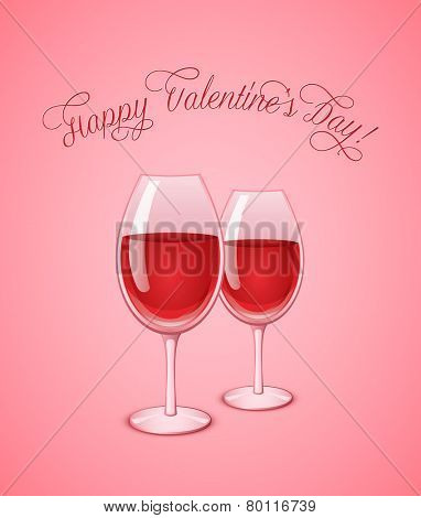 Valentine's wineglasses with red wine on pink background. Wine glass vector illustration