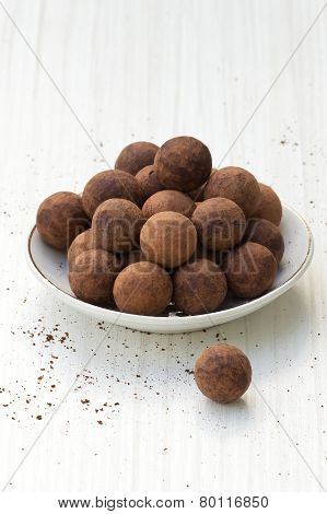 Chocolate Truffles On A Plate