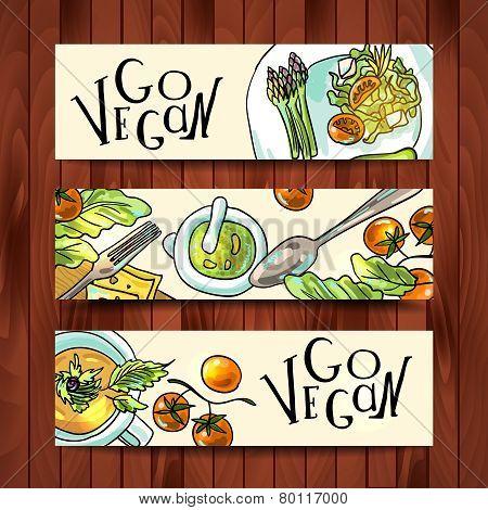horizontal banners on a vegetarian theme