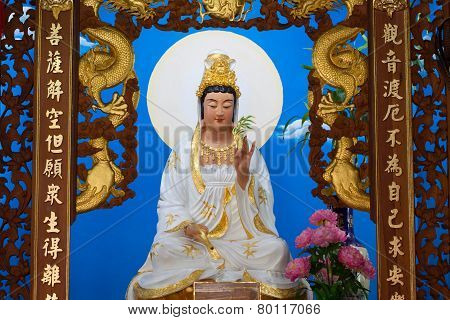 Big of god guanyin statue in China temple. Many people prayed the god in Chinese new years day