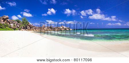 scenic panorama of Grand anse in La Digue island, Seycheles