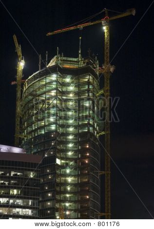 Construction of Moscow business center, night scene 2