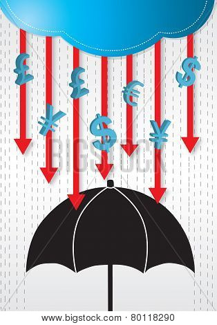 Money rains drop conceptual vector.